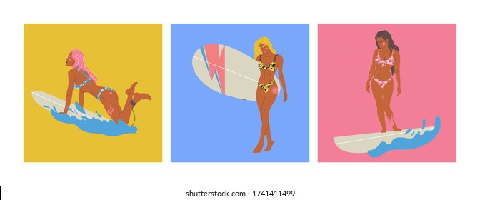 Vector illustration set girls with surfboards. Inspirational women illustration. Summer vibe
