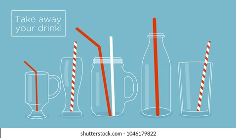 Vector illustration set of glasses and bottles for drinks. Jars, cups and glasses with drinking straws. Used for juice bar printables for menu design in flat style.
