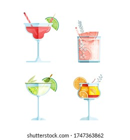 Vector Illustration Set of Glasses of Cosmopolitan Cocktail, Grapefruit Gin Cocktail, Margarita Cocktail, Tequila Sunrise Cocktail on isolated background. Flat Concept. Bar Menu Design.