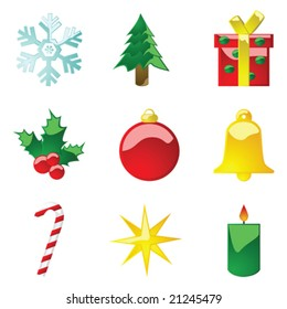 Vector illustration set of glossy Christmas icons