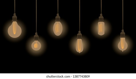 Vector illustration. Set of glowing light bulbs in vintage style on dark background
