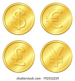 Vector illustration. Set of gold coins with 4 major currencies. Dollar, Euro, Pound sterling, Yuan or Yen. Chips. Editable and suitable. Casino game. EPS10