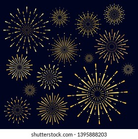Vector illustration set of golden firework salute burst on dark background. Salute collection in night sky background.