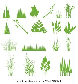 Vector illustration of a set of graphic design elements - grass, isolated on white