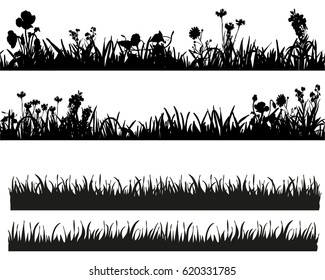 Vector illustration set of grass silhouettes and plants, field