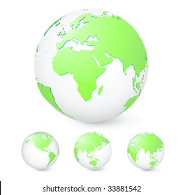 Vector illustration set of green globes showing our planet revolving in different stages