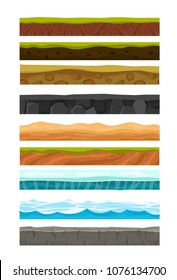 Vector illustration set of grounds, soil and land for Ui Game. Collection of cartoon soils and land foreground area with blades of grass layers, rocks and underground patterns in flat style.