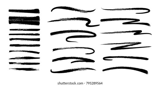 vector illustration. set of grunge black brushes. design elements for brutal hipster graphics. design business cards, invitations, gift cards, flyers and brochures
