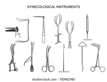 vector illustration of set of gynecologic and obstetric instruments