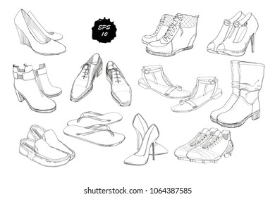 Vector illustration of Set hand drawn graphic Men and women Footwear, shoes. Casual and sport style, gumshoes. Moccasins, sneakers, boots, pumps. Doodle, drawing Design isolated object.