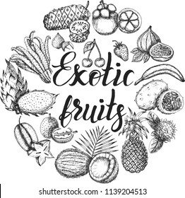 Vector illustration, set of hand drawn exotic fruits with inscription