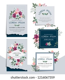 Vector illustration set of hand drawn floral cards for wedding, anniversary, birthday parties. Design for icons, web design, print project for banner, poster, invitation, brochure and scrapbook.