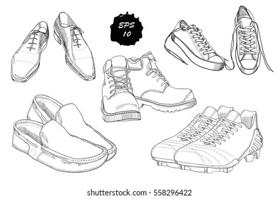 Vector illustration of Set hand drawn graphic Men Footwear on white background. Casual and sport style, gumshoes for man. Shoes for all seasons. Doodle Design isolated object for logo.