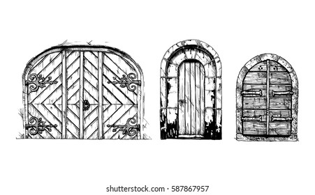 Vector illustration set of hand drawn middle age vintage doors. Black and white, isolated on white.