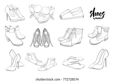 d752f491639 Vector illustration of Set hand drawn graphic Men and women Footwear