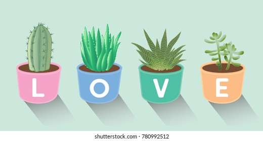 Vector illustration set of hand drawn cacti and succulents growing in colorful pots. Vector cacti in Valentine's day concept.