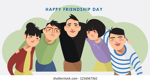 Vector illustration set of happy friends. Character collection of a group of people putting arms around each other's shoulders. Flat styled design for presentation, project, banner, poster, card.