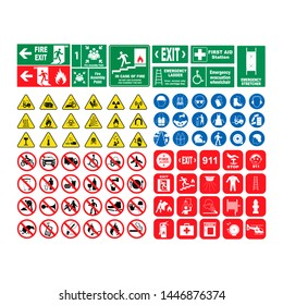 Vector illustration set of hazard warning signs , set of icons isolated on white background. Threat, a collection of hazard symbols