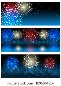 Vector illustration - set of header or banner with fireworks