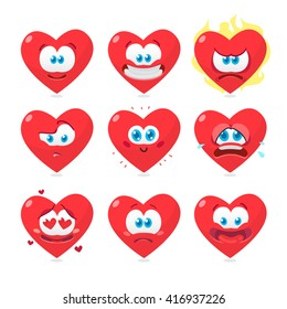 Vector illustration of the set of heart emoticons isolated on white background