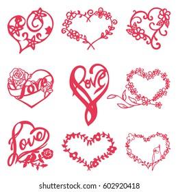 A vector illustration set of heart shaped floral nature frames set