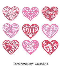 A vector illustration set of heart shaped fretwork, laces and frames.