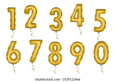 Vector illustration of a set of helium balloons numbers for the holiday.