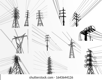 Vector Illustration. Set High Voltage  Towers Electric Power Transmission. Lines Supplies Electricity to the Text.  Pylon, pole network, icon. Symbols, steps for successful business planning Suit.