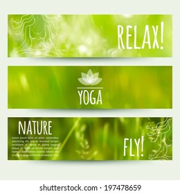 vector illustration. Set of horizontal banners with blurred grass background and and sketch a girl in lotus position