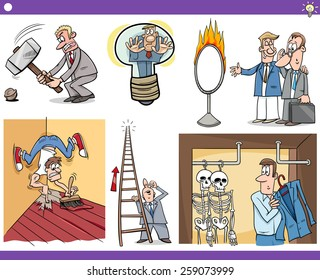 Vector Illustration Set of Humorous Cartoon Concepts or Ideas and Metaphors with Funny Characters