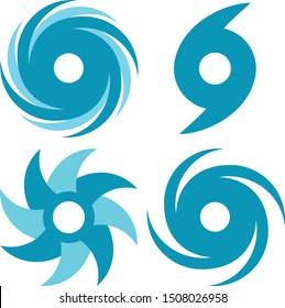 Vector illustration of a set of hurricane/cyclone symbols/icons.