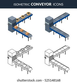 Vector illustration. Set icons of automatic conveyor lines for packing of cardboard boxes. Outline and colorful. Isometric, 3D.