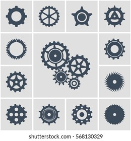 Vector illustration. Set icons black mechanical gears on a gray background. contoured silhouette