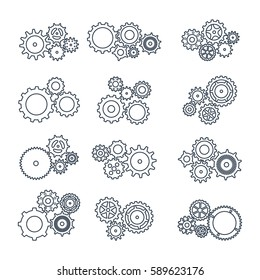 Vector illustration. Set icons black mechanical gears on a white background. contoured silhouette