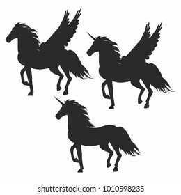 vector illustration with set of icons of unicorns and pegasus