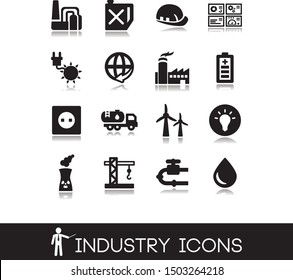 Vector illustration. Set of industry icons.