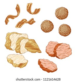 vector illustration set of ingredients meat dishes: meatballs, fried bacon, chicken breast, beef tenderloin on white background