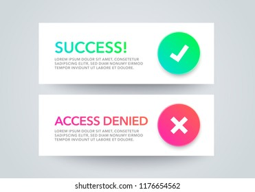 Vector Illustration set of interface dialog  notification message boxes - success, access denied, with modern colorful flat line gradient round icons, web element