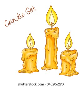 vector illustration of set with isolated cartoon hand drawn melted candles.