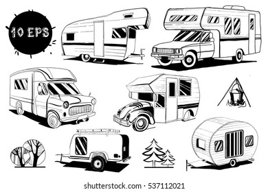 Vector illustration of Set isolated Hand Drawn, doodle Camper trailer, car Recreation transport, Vehicles Camper Vans Caravans Icons. Motorhome. Graphic object. Camping