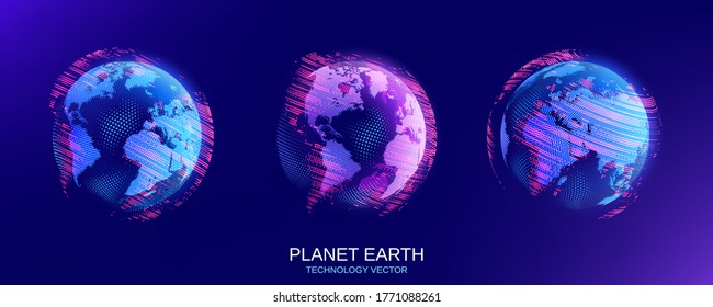 Vector illustration. Set of isolated objects. Planet Earth. Global map. Future. Modern technological dark blue background. World Wide Web Internet. Technology, innovation and communication.