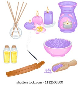 Vector illustration of a set of items and accessories for aromatherapy. Design for stickers and icons. Objects isolated on white background.