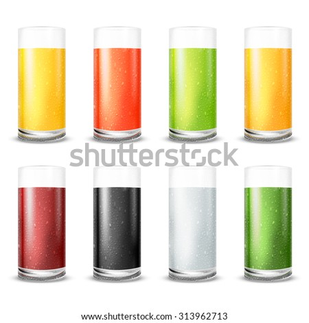 Vector illustration set of  juice glasses with water drops and different sort