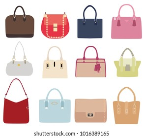 vector illustration of set of ladies handbags isolated on white background