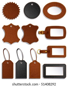Vector illustration - set of leather luggage labels and tag