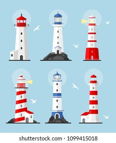 Vector illustration set of lighthouses, path lighting. Searchlight towers with a beam of searchlight for marine navigation of ships. Flat lighthouse buildings icon.