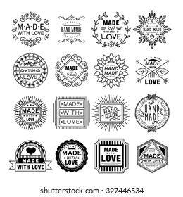 Vector illustration set of linear badges and logo design elements - hand made, made with love and handcrafted