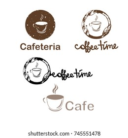 Vector illustration set logo caffe time. Logotype for caffe, cafeteria, bar, magazines