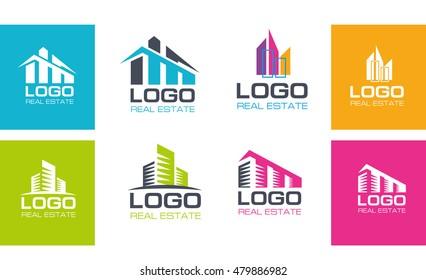 vector illustration set of logo. construction firm. logo Real Estate Agency. rental housing sample logo graphics. creative design