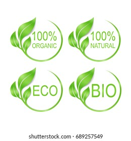 Vector illustration, set of logos for natural, organic, eco and bio products.
